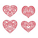 Set hand drawn hearts. Design elements for Valentine`s day stock illustration