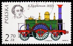 r Stephenson, 1837, storia del serie locomotivo, circa 1976 fotografie stock libere da diritti