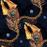 r Struttura disegnata a mano di modo dell'acquerello con differenti catene dell'oro, corde illustrazione di stock