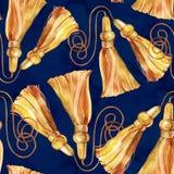 r Struttura disegnata a mano di modo dell'acquerello con differenti catene dell'oro, corde royalty illustrazione gratis