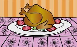 Rôti de poulet servi sur une table de dîner Images stock