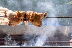Rôti fait maison de poulet sur une broche dans un barbecue dans la rue Photographie stock libre de droits