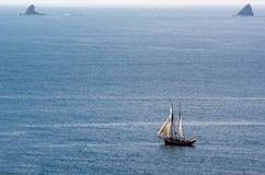 R.Tucker汤普森风帆运送在海岛新西兰海湾  免版税库存图片