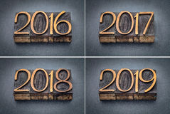 År 2016, uppsättning 2017, 2018 och 2019 Royaltyfri Fotografi