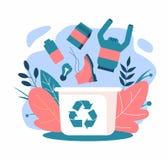 r?utilisation D?chets z?ro Les déchets tombent dans les déchets illustration stock