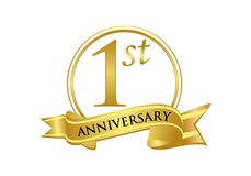 1r vector del logotipo de la celebración del aniversario