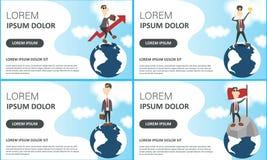 r Vectorillustratie van beste ideewinnaar, mensen die nieuw project, zakenlieden op Aardebol plannen en vector illustratie