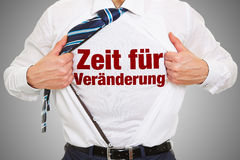 ¼ r Veraenderung do fà de Zeit na camisa Imagens de Stock