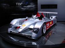 Audi R10 TDI. Audi R10, first diesel prototype to win the 24 Hours of Le Mans race in 2006. This pic has been taken at the 2006 Geneva Autoexpo where the new Royalty Free Stock Photos