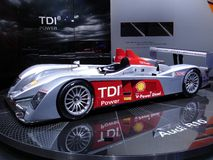 R10 TDI. Audi R10, first diesel prototype to win the 24 Hours of Le Mans race in 2006. This pic has been taken at the 2006 Geneva Autoexpo where the new racecar Royalty Free Stock Photos