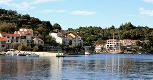 Racisce Croatia panoramic view. Račišće, island Korčula, Croatia. Panoramic view of town with small boats in port Stock Images