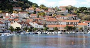 Racisce Croatia panoramic view. Račišće, island Korčula, Croatia. Panoramic view of town with small boats in port Stock Photography