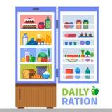 Ração diária Proteínas, gorduras, hidratos de carbono Foto de Stock Royalty Free