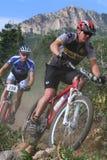 Raça da bicicleta de montanha fotografia de stock royalty free