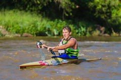 Raça da canoa de Len Jenkins Dusi Fotografia de Stock Royalty Free