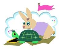 Raça da tartaruga e do coelho Imagem de Stock