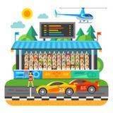 Raça de carro Competição no estádio Fotografia de Stock Royalty Free