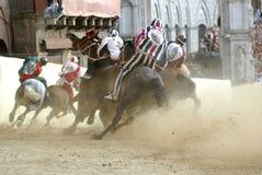 Raça de cavalo do palio de Siena Foto de Stock Royalty Free