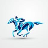 Raça de cavalo Esporte equestre Silhueta da competência com jóquei Fotos de Stock