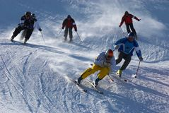 Raça de esqui extrema Fotos de Stock Royalty Free