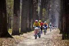 Raça de relé através dos campos da bicicleta de montanha Fotografia de Stock