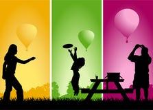 Raça do balão do piquenique Fotografia de Stock Royalty Free