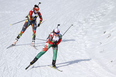 Raça do Biathlon Fotografia de Stock