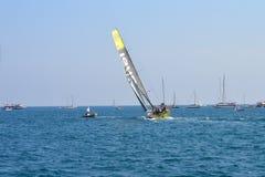Raça 2014 - do oceano de Volvo vento 2015 de Team Brunel Hard On The Foto de Stock Royalty Free