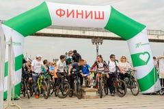 Raça dos desportistas em bicicletas Tyumen Rússia Imagem de Stock Royalty Free