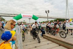 Raça dos desportistas em bicicletas Tyumen Rússia Foto de Stock