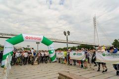 Raça dos desportistas em bicicletas Tyumen Rússia Fotografia de Stock Royalty Free