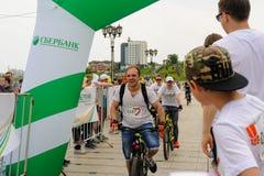 Raça dos desportistas em bicicletas Tyumen Rússia Imagens de Stock