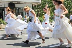 Raça nos vestidos de casamento imagens de stock royalty free