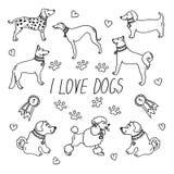 Raças do cão Ajustado com a inscrição eu amo cães ilustração do vetor