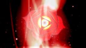 Raíz Chakra Muladhara Chakra Mandala Spins en campo rojo de la energía
