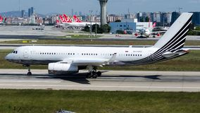 RA-64010 Business Aero , Tupolev Tu-204-300A. RA-64010 is rolling for take-off on runway 35L at Istanbul Ataturk Airport LTBA, October 5, 2018 stock image
