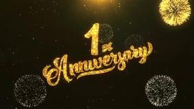 1ra celebración feliz del aniversario, deseos, saludando el texto en el fuego artificial de oro stock de ilustración
