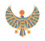 Ra - dios, creador, deidad o criatura mitológica representados como halcón y disco del sol Carácter legendario de antiguo ilustración del vector