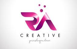 RA Letter Logo Design con colores púrpuras y puntos Fotos de archivo