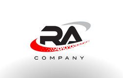 RA Modern Letter Logo Design with Red Dotted Swoosh Stock Photos