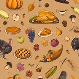 Colorful seamless pattern Thanksgiving Day Royalty Free Stock Photography