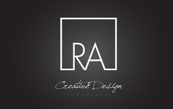 RA Square Frame Letter Logo-Design mit Schwarzweiss-Farben Stockfotos