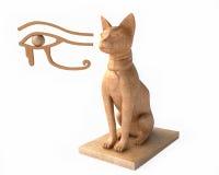 Ra y dios egipcio Bastet del ojo stock de ilustración