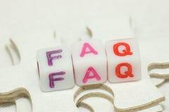 Raadsel FAQ Stock Foto