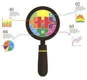 Raadsel meer magnifier informatie Royalty-vrije Stock Afbeeldingen