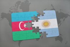 raadsel met de nationale vlag van azerbaijan en Argentinië op een wereldkaart Stock Illustratie