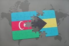 raadsel met de nationale vlag van azerbaijan en de Bahamas op een wereldkaart Royalty-vrije Illustratie