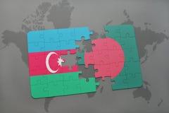 raadsel met de nationale vlag van azerbaijan en Bangladesh op een wereldkaart Vector Illustratie