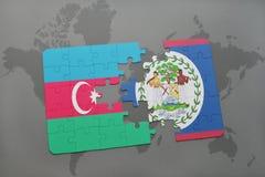 raadsel met de nationale vlag van azerbaijan en Belize op een wereldkaart Vector Illustratie