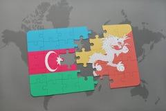 raadsel met de nationale vlag van azerbaijan en bhutan op een wereldkaart Stock Illustratie